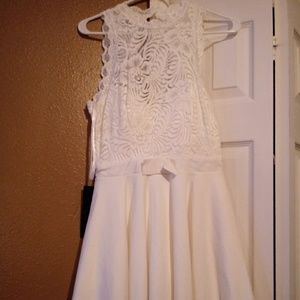 Bebe white dress with lace top
